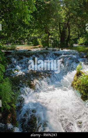 Part of the upper reaches of Skradinski buk, a waterfall complex on the Krka River in the Krka National Park, Šibenik–Knin, Croatia - Stock Photo