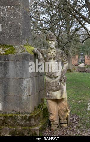 Monument to gardener Thomas Mann, 1946 - 1986, West Green House Garden, Thackham's Lane, near Hartley Wintney, Hook Hampshire RG27 8JB