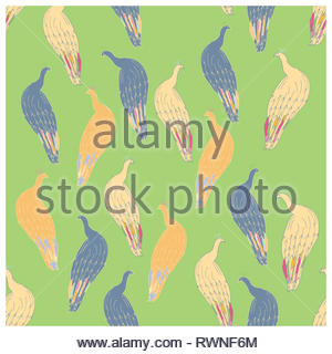 Peacock repeated cute hand drawn seamless vector pattern on green background. Sketch textile, wrapping paper, background, wallpaper, pattern fills, we - Stock Photo