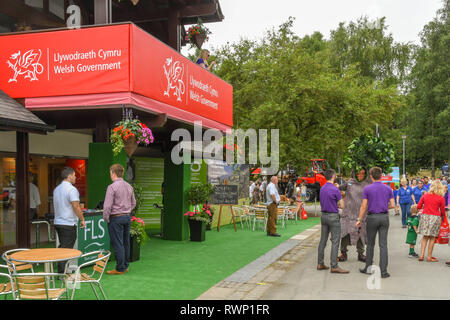BUILTH WELLS, WALES - JULY 2018: Entrance to the Welsh Government's pavilion on the showground at Builth Wells. - Stock Photo