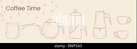 Set of line vector of coffee preparation. Cezve, coffee kettle, french press, moka pot and coffee cup for cafe. Isolated vector for coffee house, shop - Stock Photo