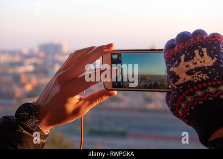 BEIJING/ CHINA, JANUARY 16, 2019: The unspecific person take photo from the top of the Jingshan Park. That's park located at the in front of the Forbi - Stock Photo