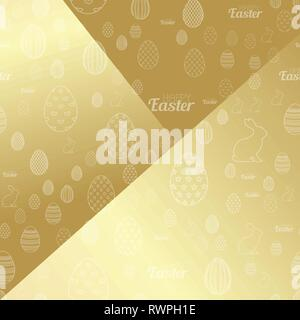 Happy Easter background with golden eggs. Vector. - Stock Photo