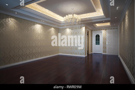 3d Illustration Beautiful Bright Warm Room, Decorated with Parquet Floor - Stock Photo
