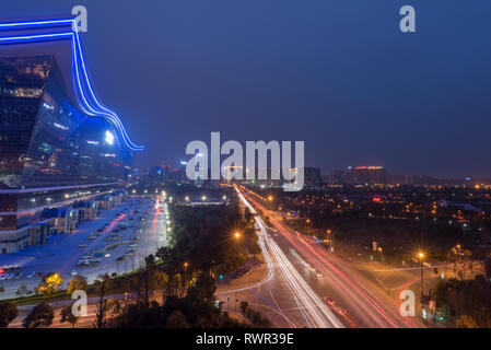 Chengdu, Sichuan province, China - March 8, 2016: Night aerial view of Chengdu new century global center - Stock Photo