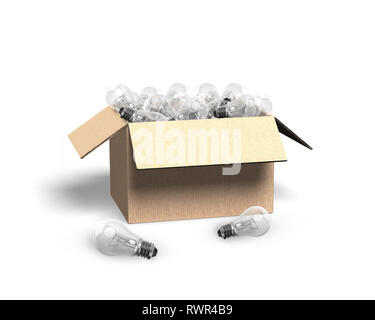 Open cardboard box with light bulbs, isolated on white background, 3D illustration. - Stock Photo