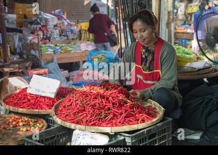 Talat Sao Morning Market Vientiane Laos - Stock Photo