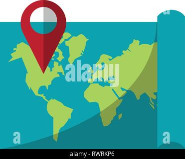 world map with pin location symbol - Stock Photo