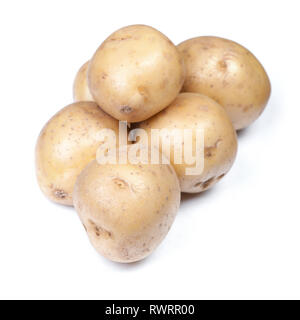 Heap of flawed natural potatoes isolated on white background - Stock Photo