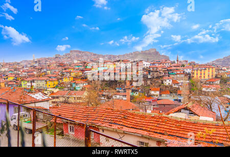 Ankara/Turkey-February 08 2019; Part of shanty town and Ankara castle in background - Stock Photo