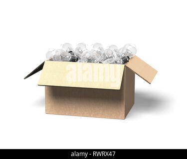 Opened cardboard box with light bulbs, isolated on white background, 3D illustration. - Stock Photo