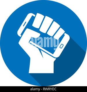 Hand holding smartphone like call to digital revolution modern style icon - Stock Photo