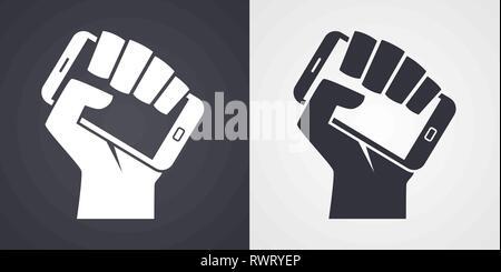 Hand holding smartphone like call to digital revolution icon - Stock Photo