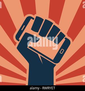 Hand holding smartphone like call to digital revolution retro style icon - Stock Photo