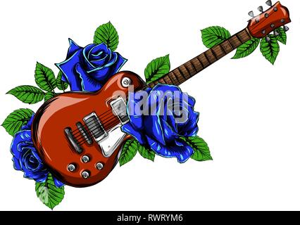 electric guitar on fire with blue flames - Stock Photo