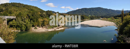 A view down the Buller River from State Highway 6, South Island, New Zealand - Stock Photo