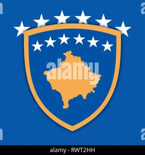 Kosovo coat of arms on the official flag, vector illustration - Stock Photo