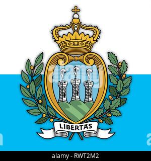 San Marino Republic coat of arms on the national flag, vector illustration - Stock Photo