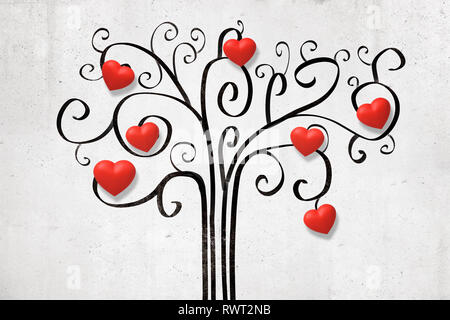 3d rendering of white wall with decorative drawing of tree with cute little red valentine hearts on branches. - Stock Photo