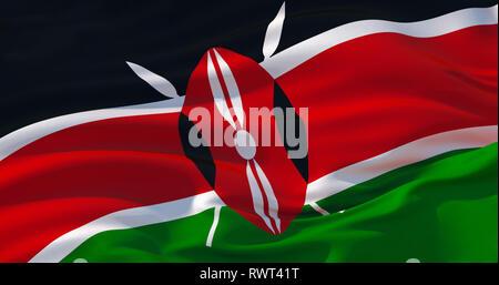 Fluttering silk flag of Kenya in the wind, colorful background. 3d illustration. 4K High quality render - Stock Photo
