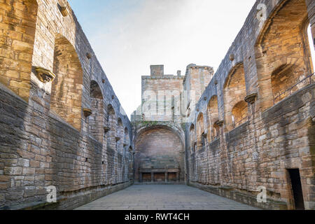 View of Great Hall inside Linlithgow Palace in Linlithgow, West Lothian, Scotland, UK. Birthplace of Mary Queen of Scots. - Stock Photo