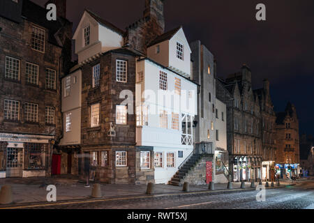 Night view of John Knox house on the Royal Mile in Edinburgh Old Town, Scotland, UK - Stock Photo