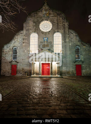 Night view of Canongate Kirk on the Royal Mile in Edinburgh Old Town , Scotland, UK - Stock Photo