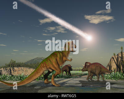 Asteroid that wiped out the dinosaurs - Stock Photo