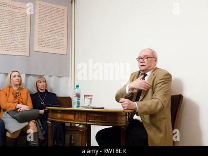 Lecture of the Russian film director Vladimir Bortko in the Dostoevsky Museum in Moscow - Stock Photo