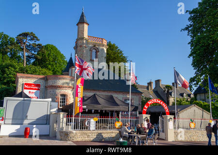 The Le Normandy restaurant in Sainte-Mère-Église, Lower Normandy, Manche, France, in June 2014. - Stock Photo