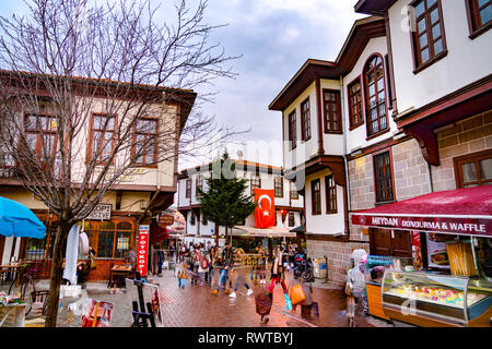 Ankara/Turkey-February 23 2019: Hamamonu district which is popular with old Turkish Houses. (Focus stacking technique was used in this image) - Stock Photo