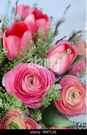 botany, pink spring bouquet with tulips and , Caution! For Greetingcard-Use / Postcard-Use In German Speaking Countries Certain Restrictions May Apply - Stock Photo
