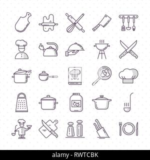 Set of clean icons featuring various kitchen utensils and cooking related objects isolated on white background. - Stock Photo