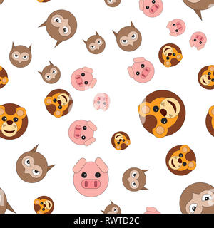 Seamless pattern of owl head of lion and pig.  illustration in cartoon style. - Stock Photo