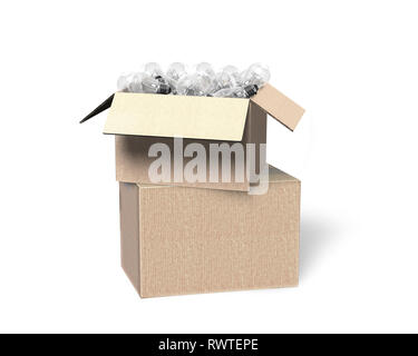 Stack of opened cardboard box with light bulbs, isolated on white, 3D illustration. - Stock Photo