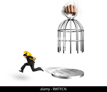 Hand opening the cage and man carrying golden dollar sign running, isolated on white background. - Stock Photo