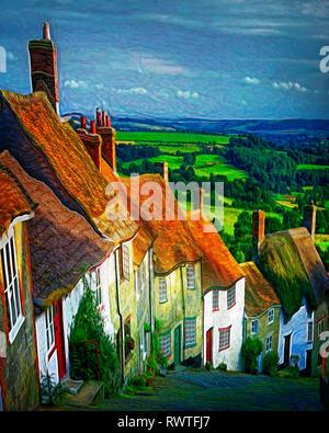 DIGITAL ART: Gold Hill at Shaftesbury, Dorset, Great Britain - Stock Photo