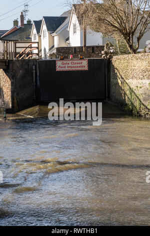 Ford closed at the river Sid crossing in Sidmouth, Devon, - Stock Photo