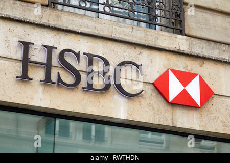 PARIS, FRANCE - JULY 23, 2017: HSBC bank sign and logo in Paris, France.