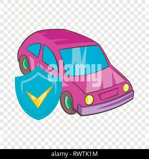 Car insurance icon in cartoon style - Stock Photo