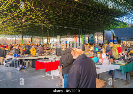 Ankara/Turkey-February 03 2019: Various antique jars, jugs, pitchers at flea market, Ayranci Antika Pazari, antique bazaar - Stock Photo