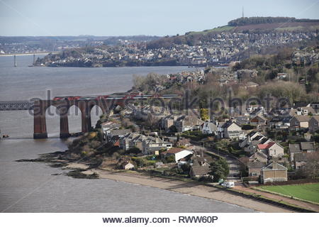 High speed LNER train crossing Tay Rail Bridge Scotland  March 2019 - Stock Photo