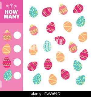 How many is educational game. Maths task for the development of logical thinking of children. Count how many eggs and write down the result. - Stock Photo