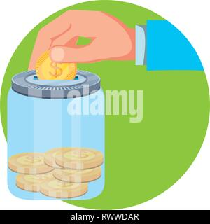 hand and saving jar with money coins vector illustration design - Stock Photo
