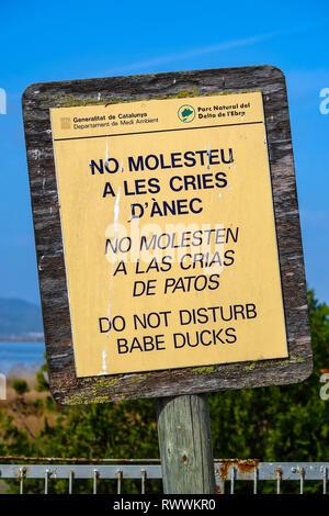 Sign Do Not Disturb the ducks, The Ebro Delta nature reserve, near Amposta, Catalunya, Spain - Stock Photo