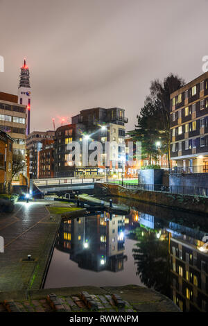 Birmingham Canals at Night Time - Stock Photo