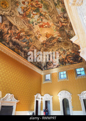 National Gallery of Ancient Art in Barberini Palace. Grand salon, large ceiling with Cortona famous fresco Allegory or Triumph of Divine Providence. - Stock Photo