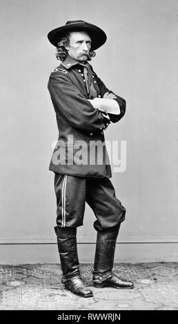 Brevet Major General George Armstrong Custer (1839-1876), General Custer, in field military uniform, portrait photograph, 23 May 1865 - LoC, USA - Stock Photo