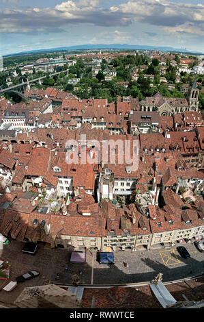 The rooftops and the river Aare which runs through the center of Bern, capital city of Switzerland. - Stock Photo