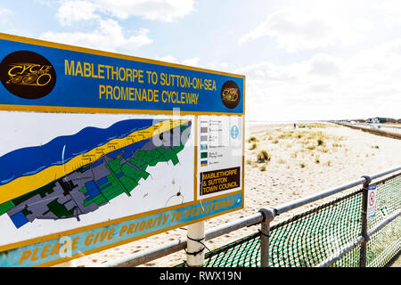 Sutton on Sea Lincolnshire UK England, Sutton on Sea Promenade sign, Sutton on Sea Promenade, East Coast promenade, beach, sand, coast, coastal, path - Stock Photo